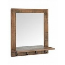 Mango Wood Mirror Frame With 4 Hooks