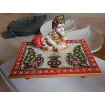 Marble Base  & Fiber Krishna With Peacock Design