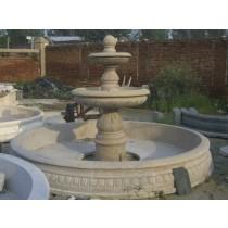 Cream Marble Decorative Curved  Fountain Pedestal