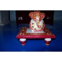 Marble Designer Short Stool With Ganeshji Sculpture