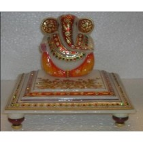 Marble Multicolored Ganesha Idol With Layered Base