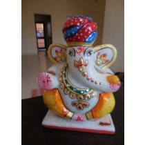 Marble Red & Blue Turban Ganesh With Stone Work