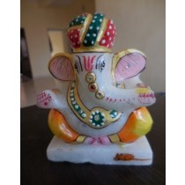 Marble Red & Green Turban Ganesh