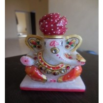 Marble Red  Turban Ganesh
