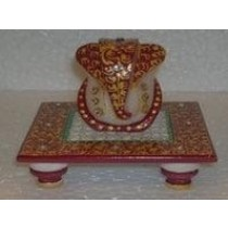 Maroon Ganesha Idol On Marble Square Base