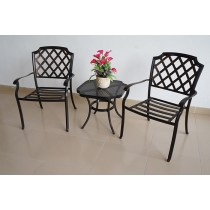 Matte Black Aluminium Cushion Chair and Table Set