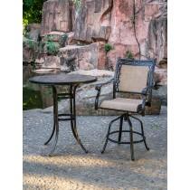 Matte Black Aluminum & Ceramic Round Bar Table