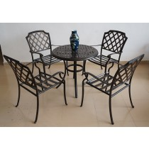 Matte Black Assembly Aluminum Table and Chair Set
