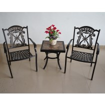 Matte Black Ceramic & Aluminium Side Table and Chair Set