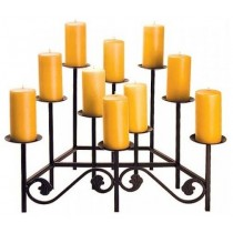 Matte Black Finish Wrought Iron Candle Holder