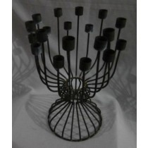 Matte Black Iron Bunched Candle Stand