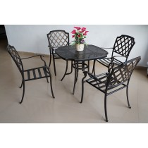 Matte Black Stylish Aluminum Umbrella Hole Table & Chair Set