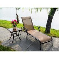 Matte Black & Brown Aluminium Lounger Style Chair