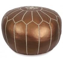 Matte Bronze Round Pouf