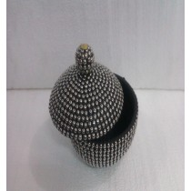 Medium Black Metal Ball With Wooden Jewellery Box 18X14