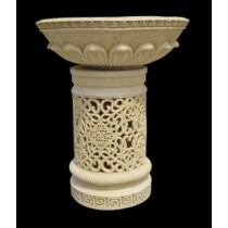 Medium Hand Carved Pedestal With Lotus Petals Flowerpot