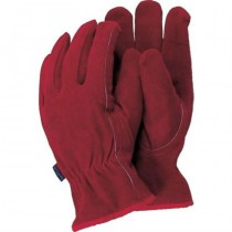 Medium Red Leather Gardening Gloves