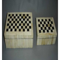 Medium Square Horn and Bone Wooden Jewellery Box