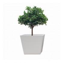White Round Polystone 10 Inch Planter