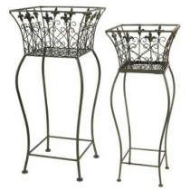 Medium Wrought Iron Decorative Wire Basket Plant Stand