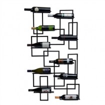 Metal Black 10 Bottle Wall Mounted Wine Rack