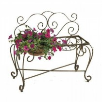 Metal Copper Finish Bench Planter Stand With 2 Pot