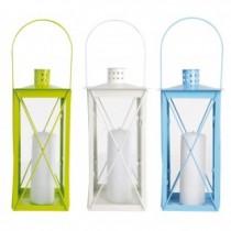 Metal Glass Hanging Lanterns Set of 3 Pcs