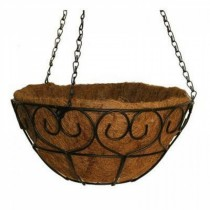 Metal Heart-Scroll Hanging Basket 14 Inch
