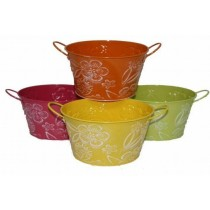 Metal Multi Colored 6 Inch Ovel Pot