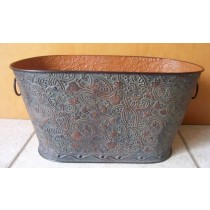Metal Oval Flower Pot With Handle