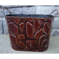 Brown Metal Oval 15 Inch Flower Pot with Handle