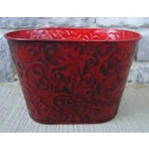 Metal Oval 9 Inch Red Color Flower Pot