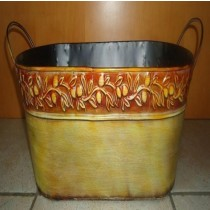 Metal 15 Inch Oval Planter With Handle