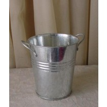Silver Finish Metal Flower Pot With Handle