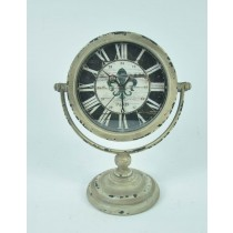 Metal Round Cream Decorative Desk Clock