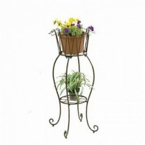 Metal Tall Round Brown Plant Stand