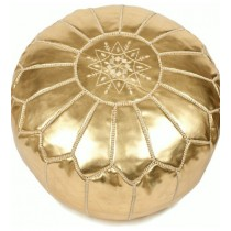 Metallic Gold Leather Cover Floor Pouf