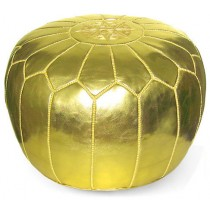 Metallic Gold Round Floor Pouf