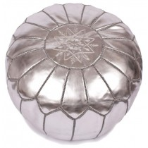 Metallic Silver Leather Cover Floor Pouf