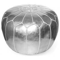 Metallic Silver Round Floor Pouf