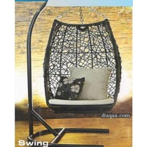 Modern Black Rattan Hanging Garden Swing Chair