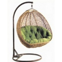 Modern Brown Garden Rattan Vertical Hanging Swing