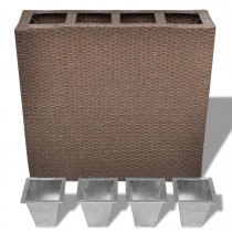 Modern Brown Rectangle Rattan Planter Set of 4 Zinc Pots - 1