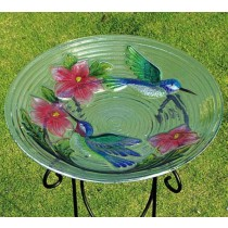 Modern Glass Bird Bath With Bird and Flower Design