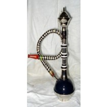 Modern Mini Dark Blue Acrylic Glass & Brass Hookah