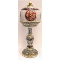 Modern Style White Marble Lamp In Meenakari Work