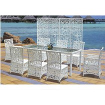 Modern White Garden PE Rattan Chair & Table Set