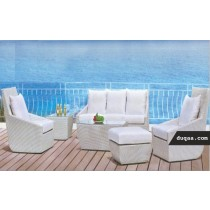 Modular Style Garden Rattan Sofa Set(1 three seater + 2 single seater + 1 table + 1 side table)