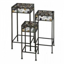 Multi-Colored Iron Plant Stand  Set of 3 Pcs