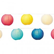 Multi Color 8 Inch Paper Lanterns String Light Set